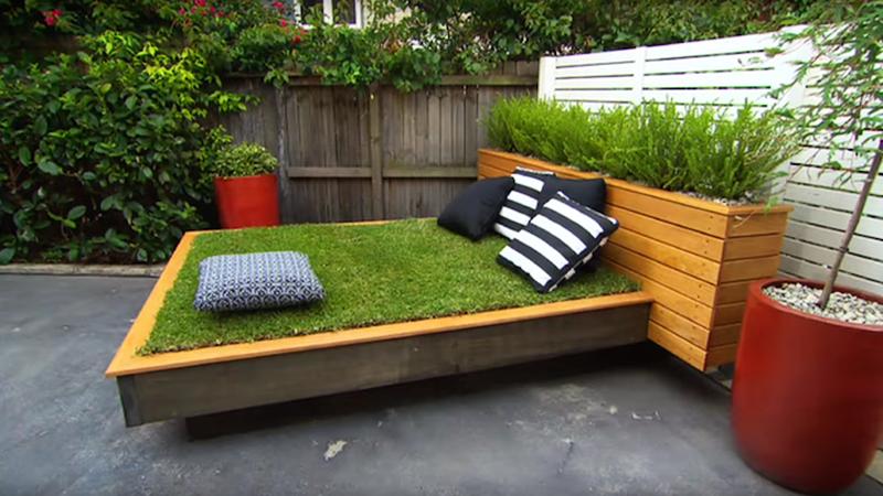 grass day bed - jardiner en ville - lit - pelouse - gazon
